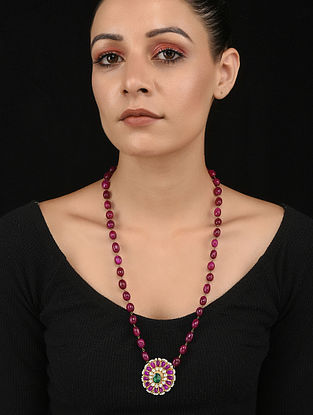Red Green Gold Tone Polki Necklace