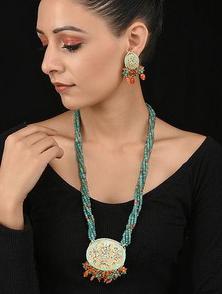 Turquoise Orange Gold Tone Kundan and Meenakari Necklace with Earrings (Set of 2)
