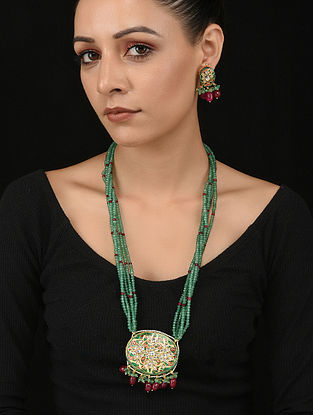 Red Green Gold Tone Kundan and Meenakari Necklace with Earrings (Set of 2)