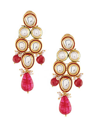 Red Gold Tone Polki Earrings
