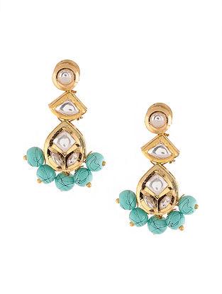 Gold Tone Kundan Earrings with Turquoise