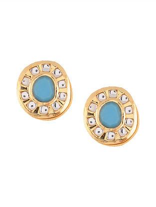 Turquoise Gold Tone Kundan Stud Earrings