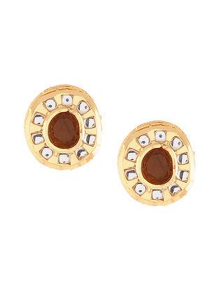 Yellow Gold Tone Polki Stud Earrings