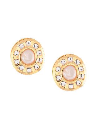 Gold Tone Polki Stud Earrings with Pearls