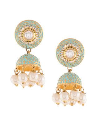 Turquoise Gold Tone Meenakari Jhumki Earrings with Pearls