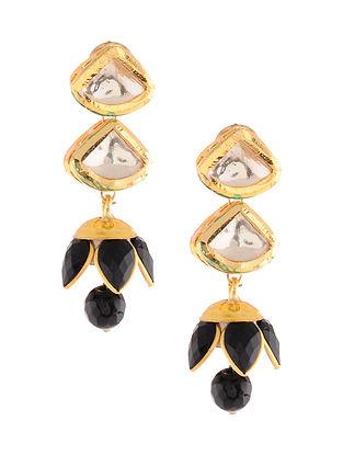 Black Gold Tone Jhumki Earrings