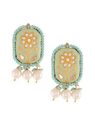 Turquoise Gold Tone Kundan and Meenakari Stud Earrings with Pearls