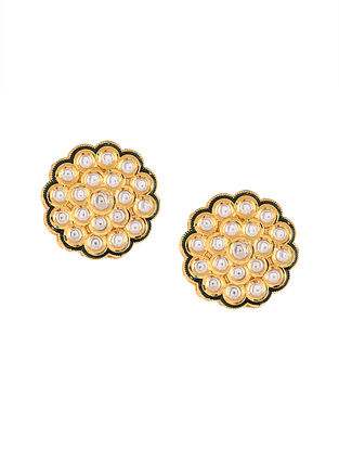 Gold Tone Kundan Stud Earrings