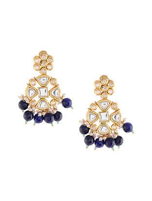Blue Gold Tone Kundan Stud Earrings