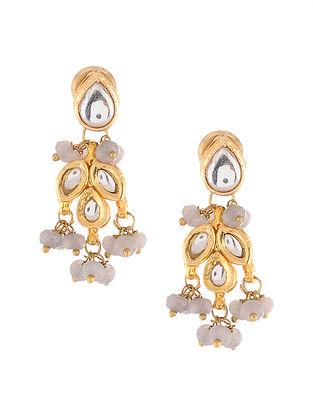 Grey Gold Tone Kundan Earrings