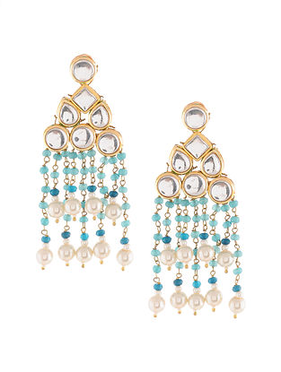Turquoise Gold Tone Earrings with Pearls