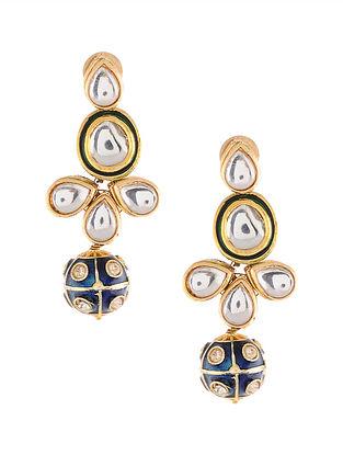 Blue Gold Tone Kundan and Meenakari Earrings