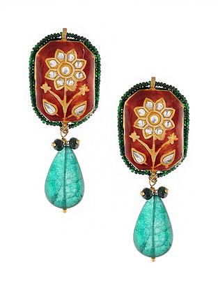 Red Green Gold Tone Meenakari Earrings