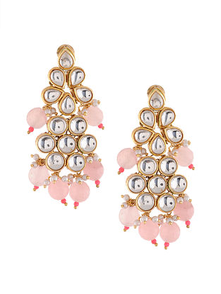 Pink Gold Tone Kundan Earrings