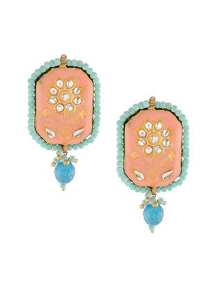 Pink Turquoise Meenakari Stud Earrings