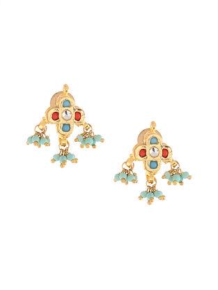 Turquoise Meenakari Stud Earrings with Coral