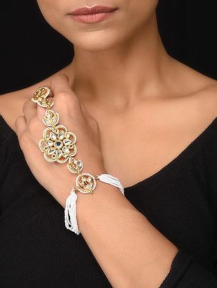 Gold Tone Kundan Haathphool with Pearls