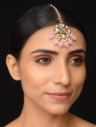 Pink Gold Tone Kundan Maang Tikka with Pearls