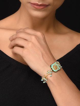 Turquoise Gold Tone Meenakari Bracelet