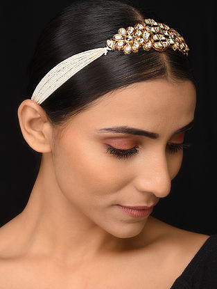 Gold Tone Kundan Head Band with Pearls