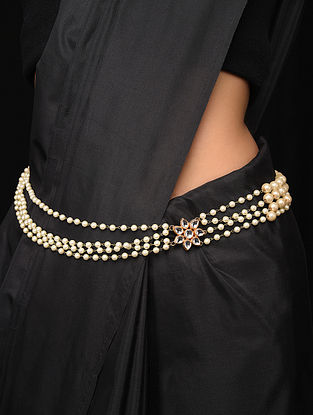 Gold Tone Kundan Waist Belt with Pearls