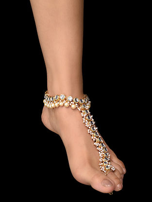 Gold Tone Kundan Anklet with Pearls