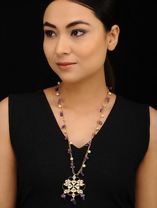 Purple Gold Tone Kundan Necklace