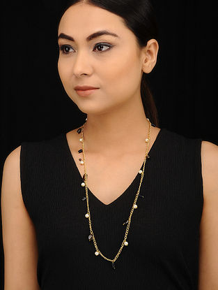 Blue Brown Gold Tone Necklace with Pearls