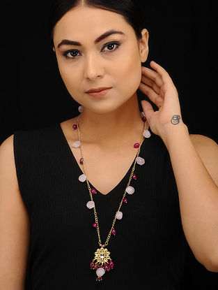 Red Pink Gold Tone Kundan Beaded Necklace