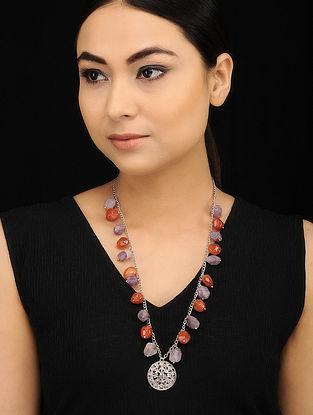 Purple Orange Silver Tone Beaded Necklace