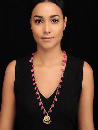 Pink Gold Tone Kundan Necklace