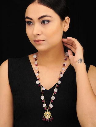 Maroon White Gold Tone Kundan Necklace