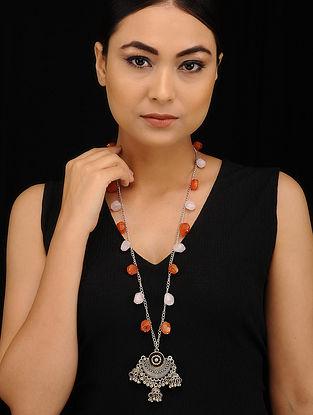 Orange White Silver Tone Necklace