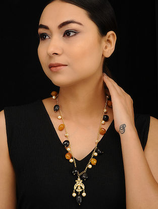 Black Orange Gold Tone Kundan Necklace with Pearls