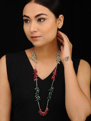 Multicolored Silver Tone Beaded Necklace