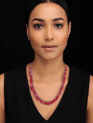 Red Silver Tone Beaded Necklace