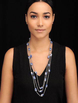 Lapis Lazuli Silver Tone Beaded Necklace