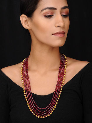 Maroon Gold Tone Beaded Necklace