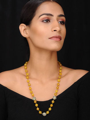 Yellow Blue Beaded Necklace With Onyx