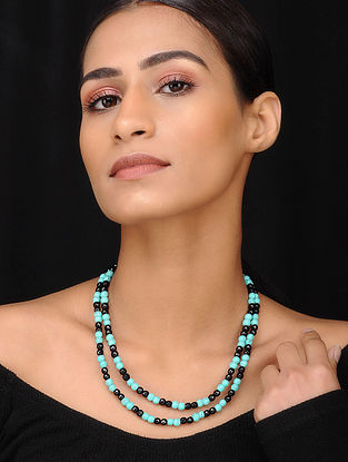 Turquoise Black Gold Tone Beaded Necklace With Onyx