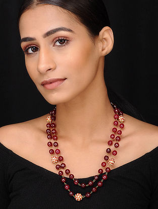Maroon Gold Tone Kundan Beaded Necklace