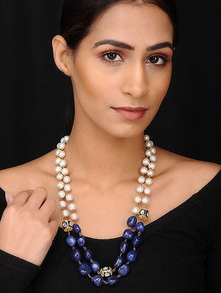 Blue Gold Tone Kundan Pearl Beaded Necklace