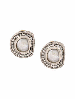 White Silver Tone Handcrafted Earrings