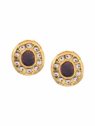 Purple Gold Tone Handcrafted Earrings