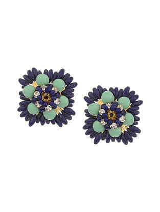 Blue Green Gold Tone Handcrafted Earrings