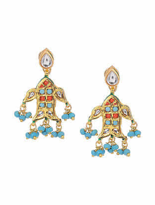 Blue Red Gold Tone Handcrafted Earrings