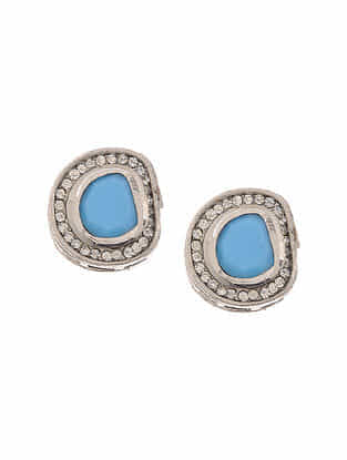 Blue Silver Tone Handcrafted Earrings