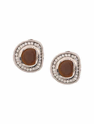 Brown Silver Tone Handcrafted Earrings