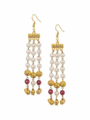 Marroon Gold Tone Earrings with Pearls