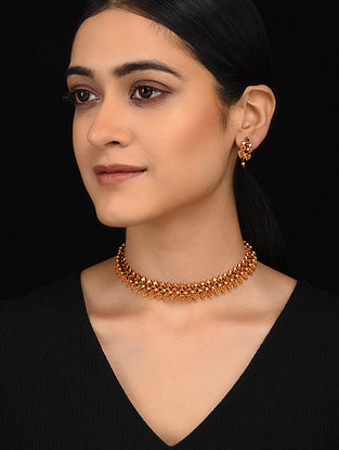 Green Pink Gold Tone Necklace with Earrings (Set of 2)